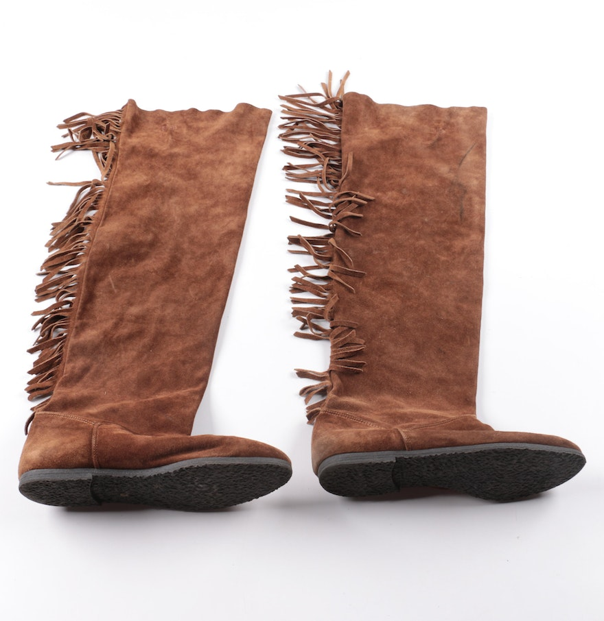 Italian Made Brown Suede Fringe Boots : EBTH