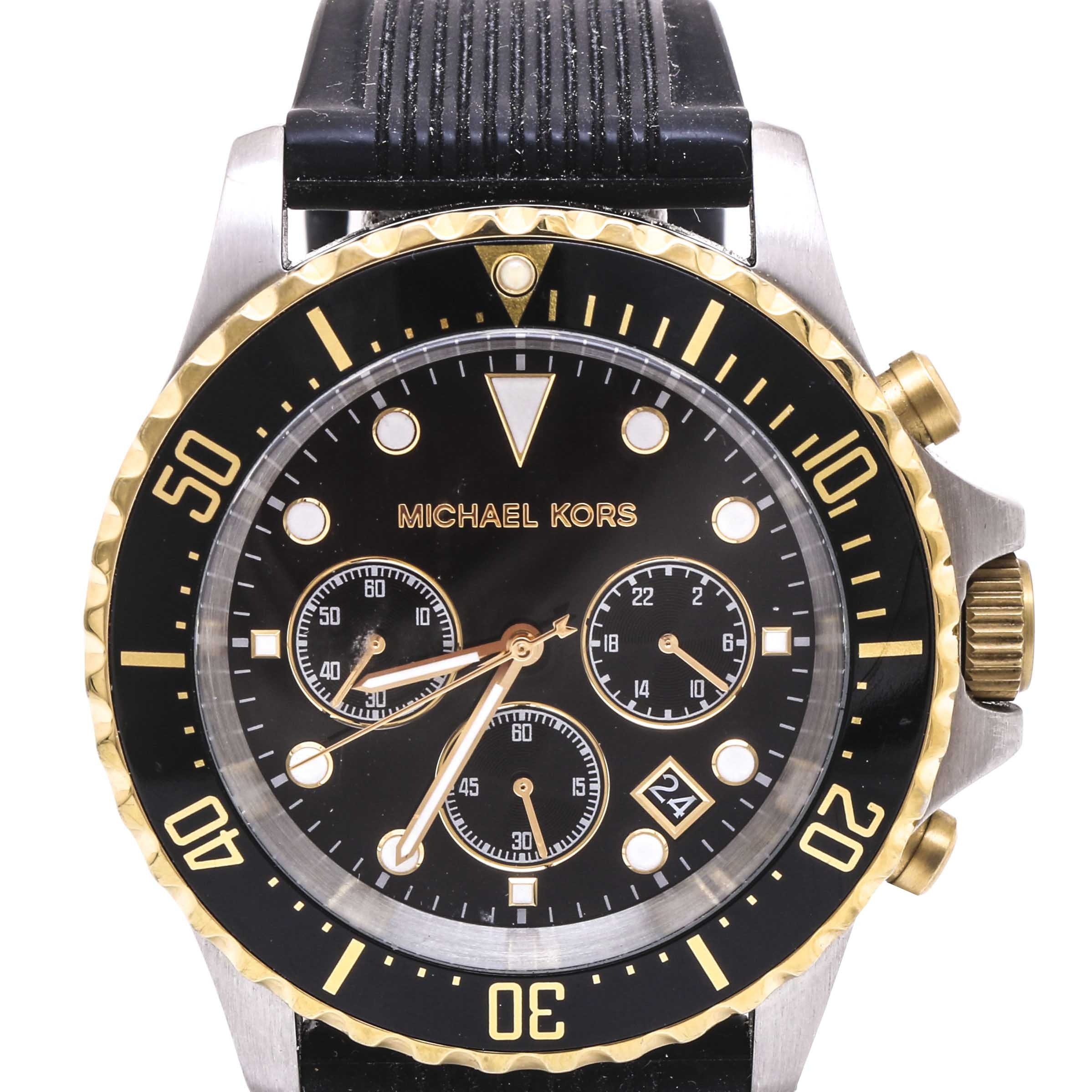 Michael Kors Stainless Steel Black and Gold Tone Wristwatch