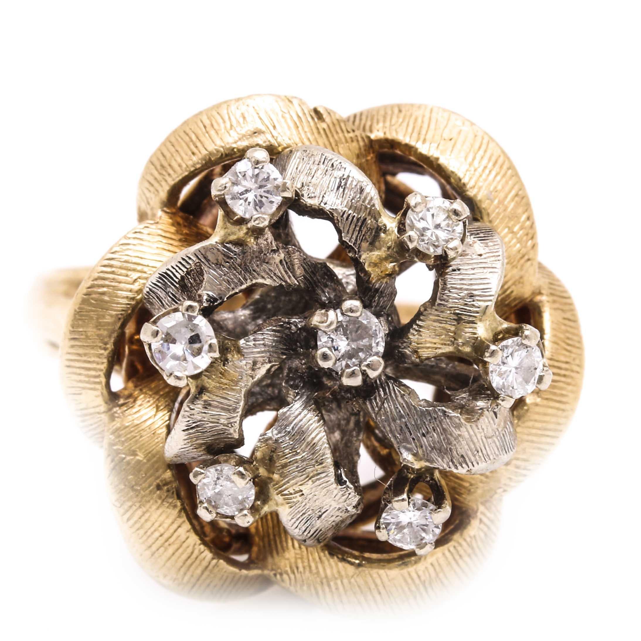 14K Yellow Gold Diamond Ribbon Ring