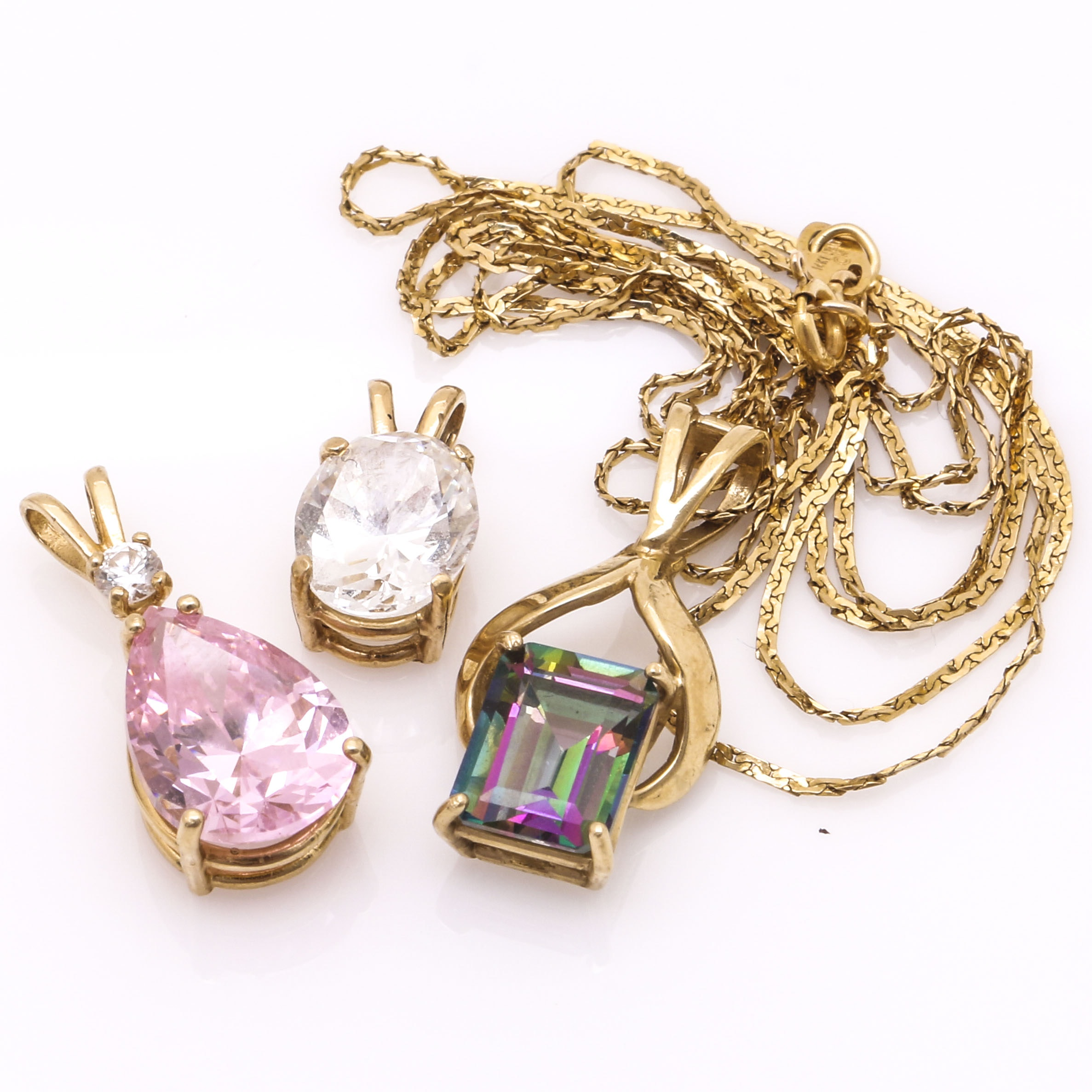 14K Yellow Gold Mystic Topaz Necklace and Two 14K Yellow Gold Pendants