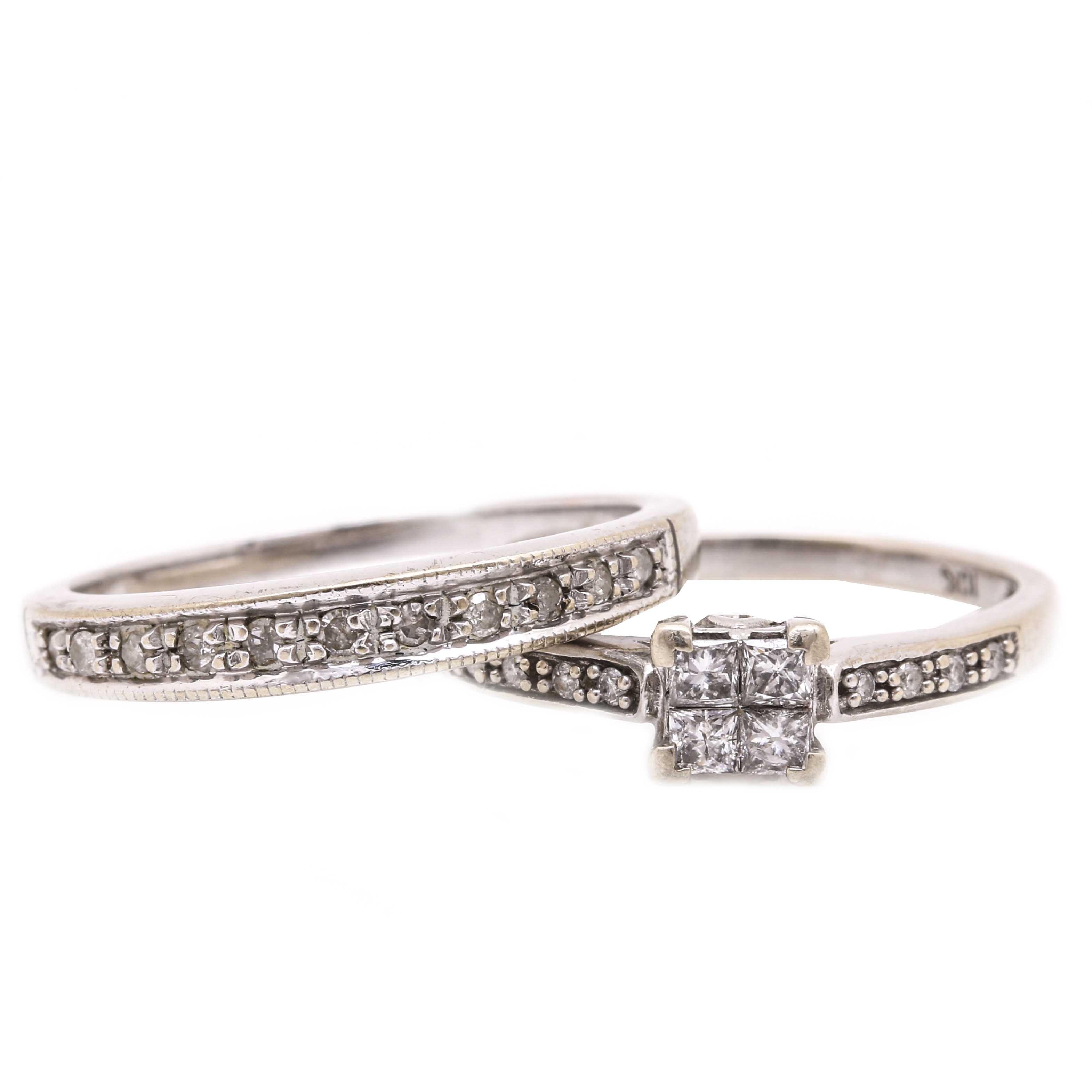 10K White Gold Diamond Wedding Set