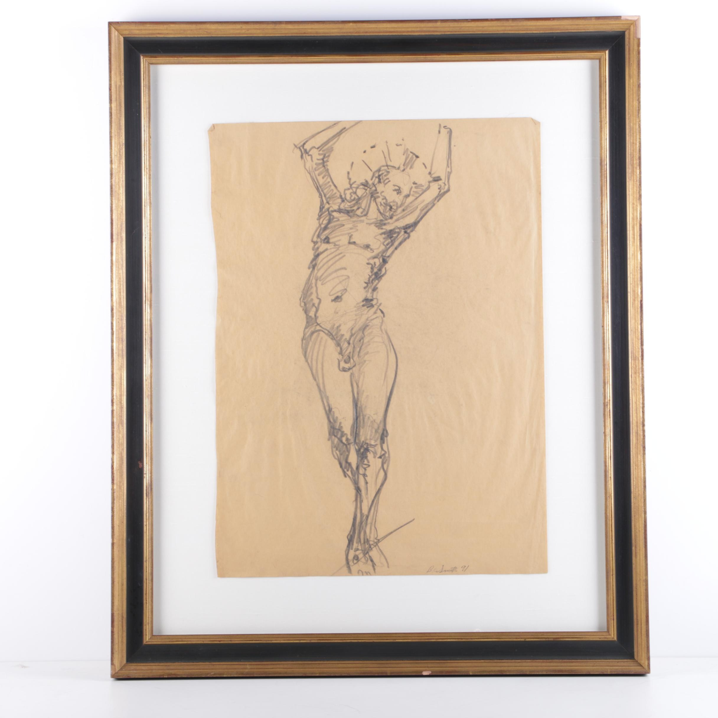Ben Smith Signed Drawing of the Crucifixion