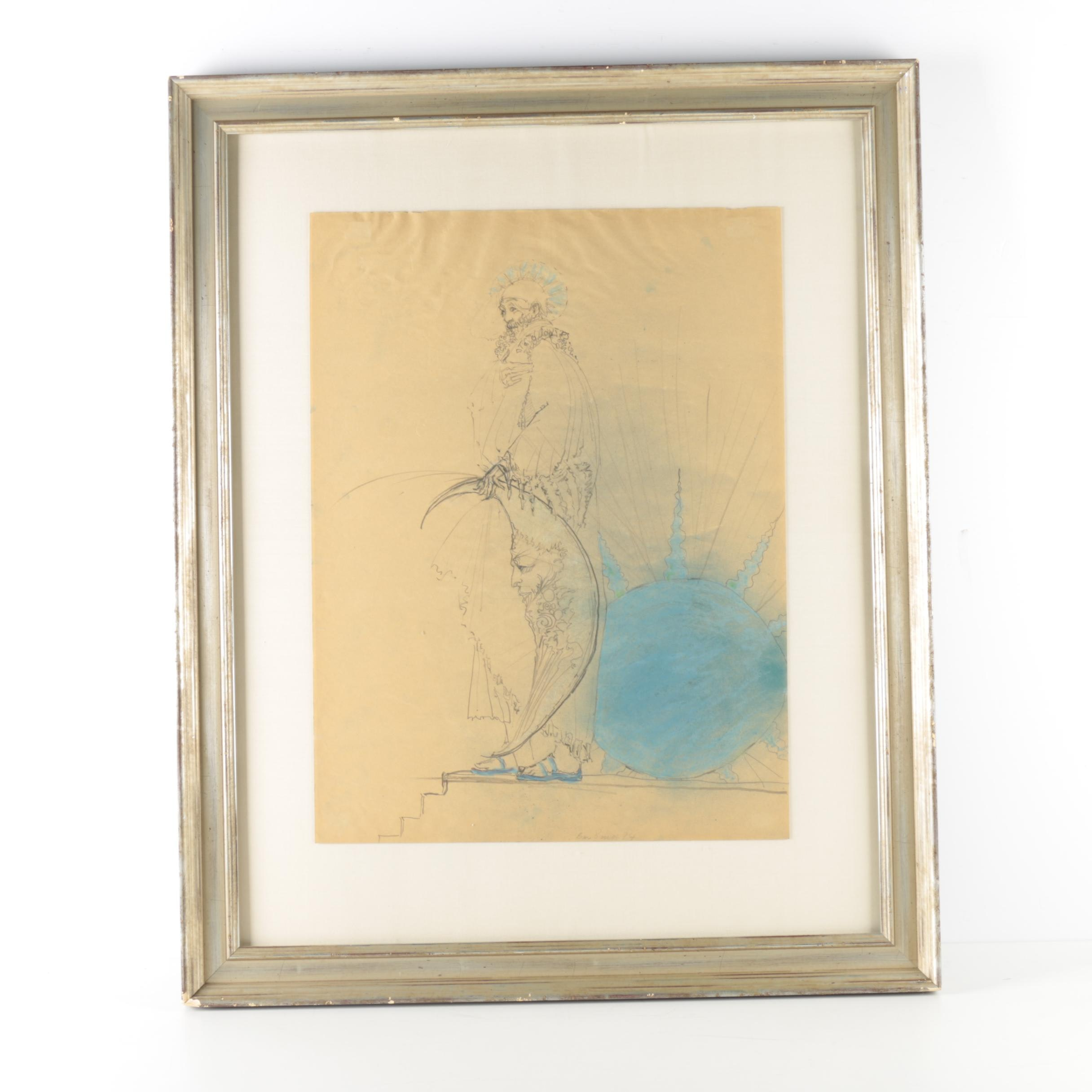 Ben Smith Original Graphite and Pastel Drawing of a Sorcerer