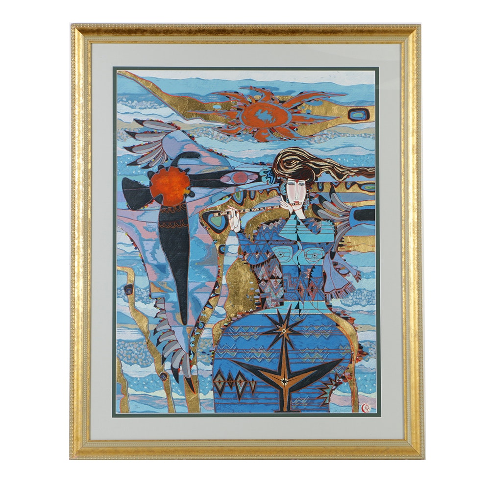 """Qin Yuan Yue Limited Edition Serigraph on Paper """"Morning Tide"""""""