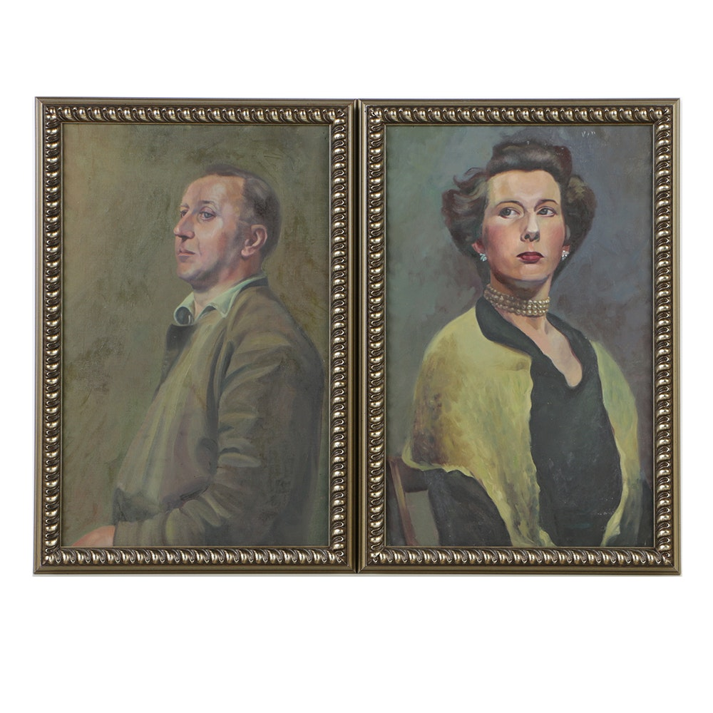 Dorothy Dunnett Pair of Oil Portraits on Canvas of Man and Woman