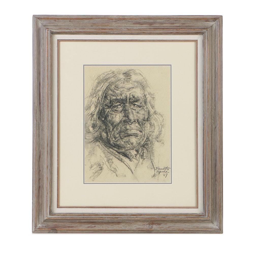 Ernesto Zepeda Charcoal Drawing on Paper Portrait of Elderly Man