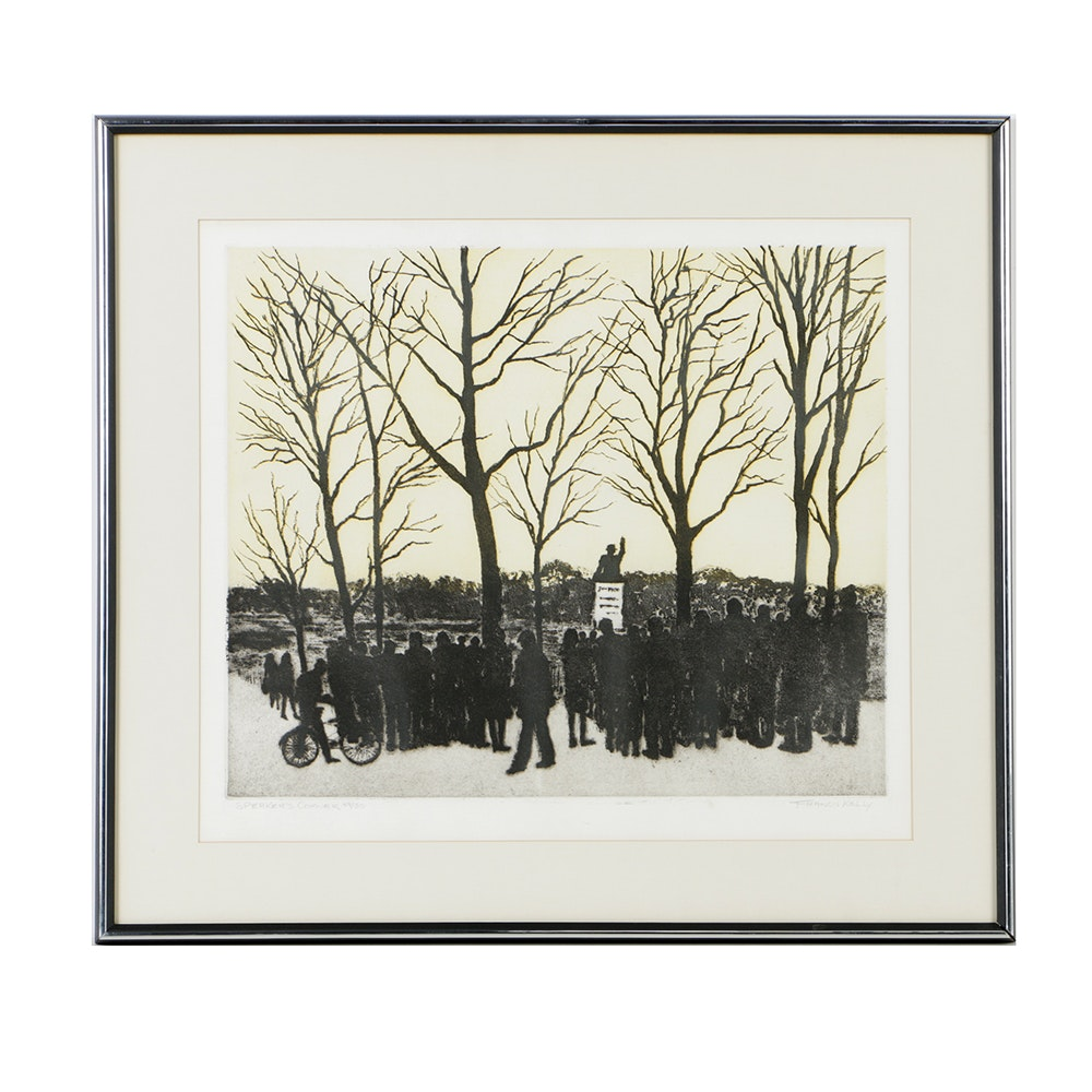 """Francis Kelly Limited Edition Etching on Paper """"Speaker's Corner"""""""