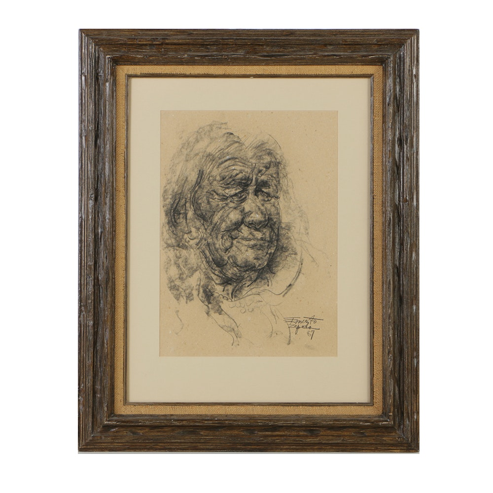 Ernesto Zepeda Charcoal Drawing on Paper Portrait of Elderly Woman