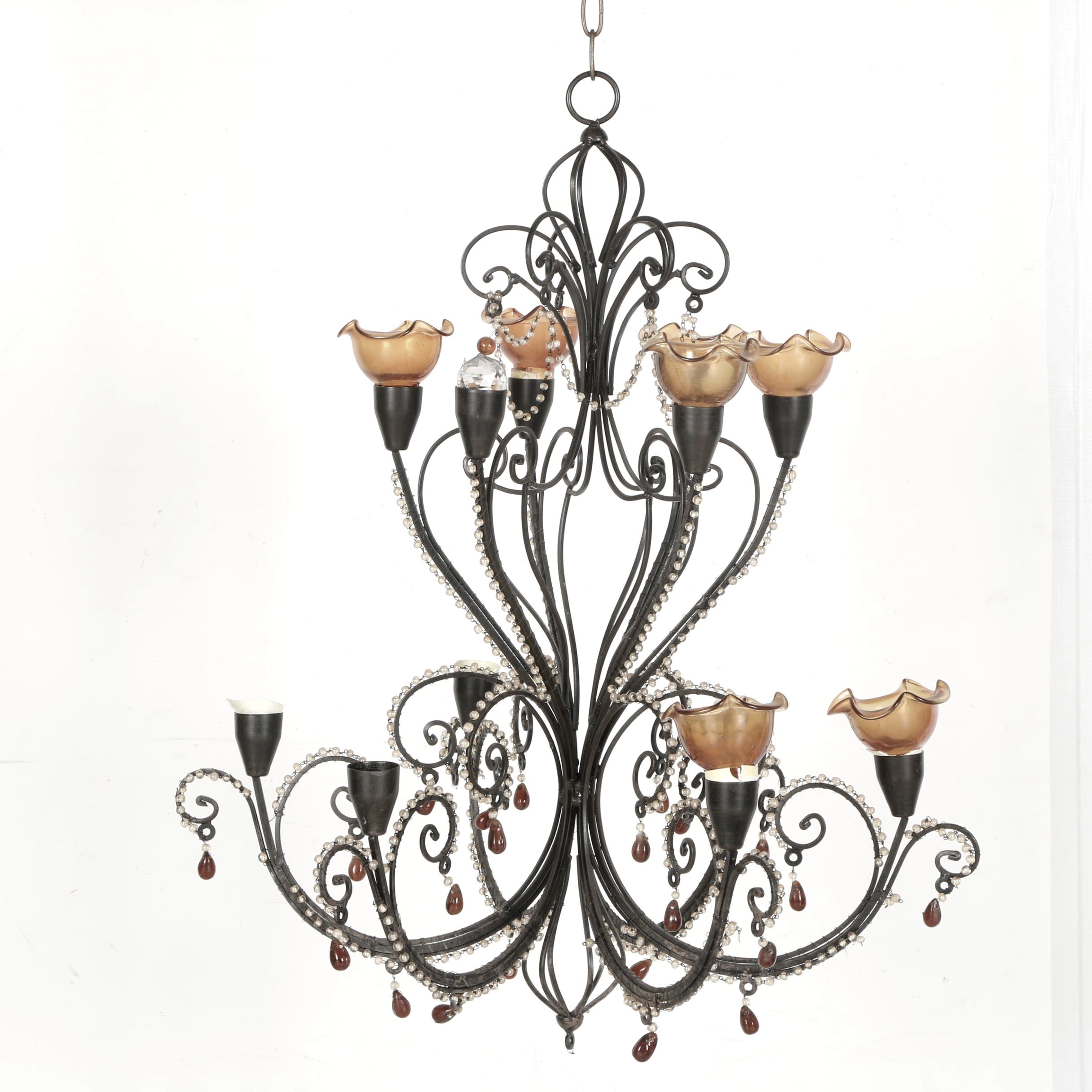 Chandelier With Black Finish and Amber Glass Shades