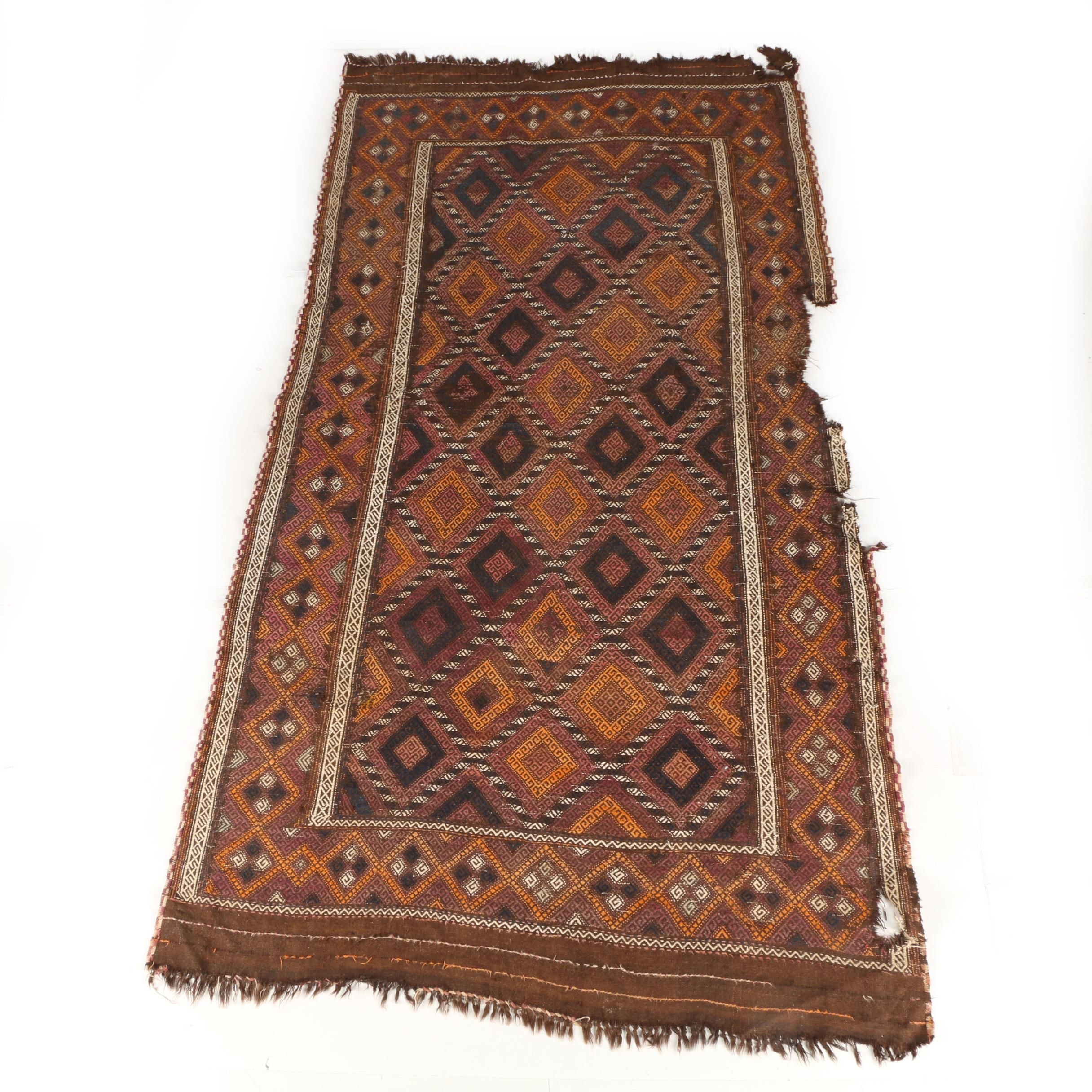 Antique Handwoven Yomut Area Soumak