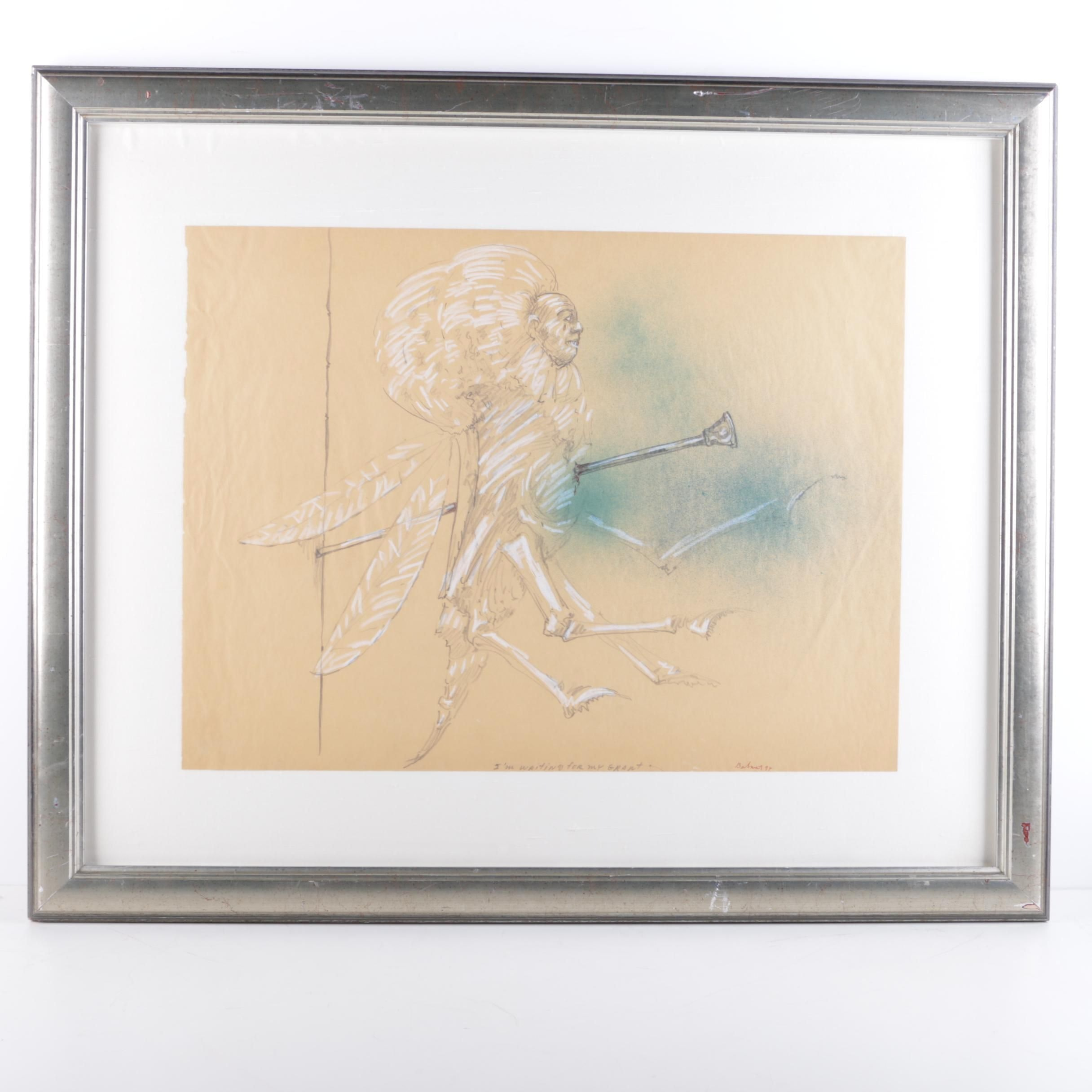 """Ben Smith Mixed Media Drawing on Paper """"I'm Waiting for My Grant"""""""