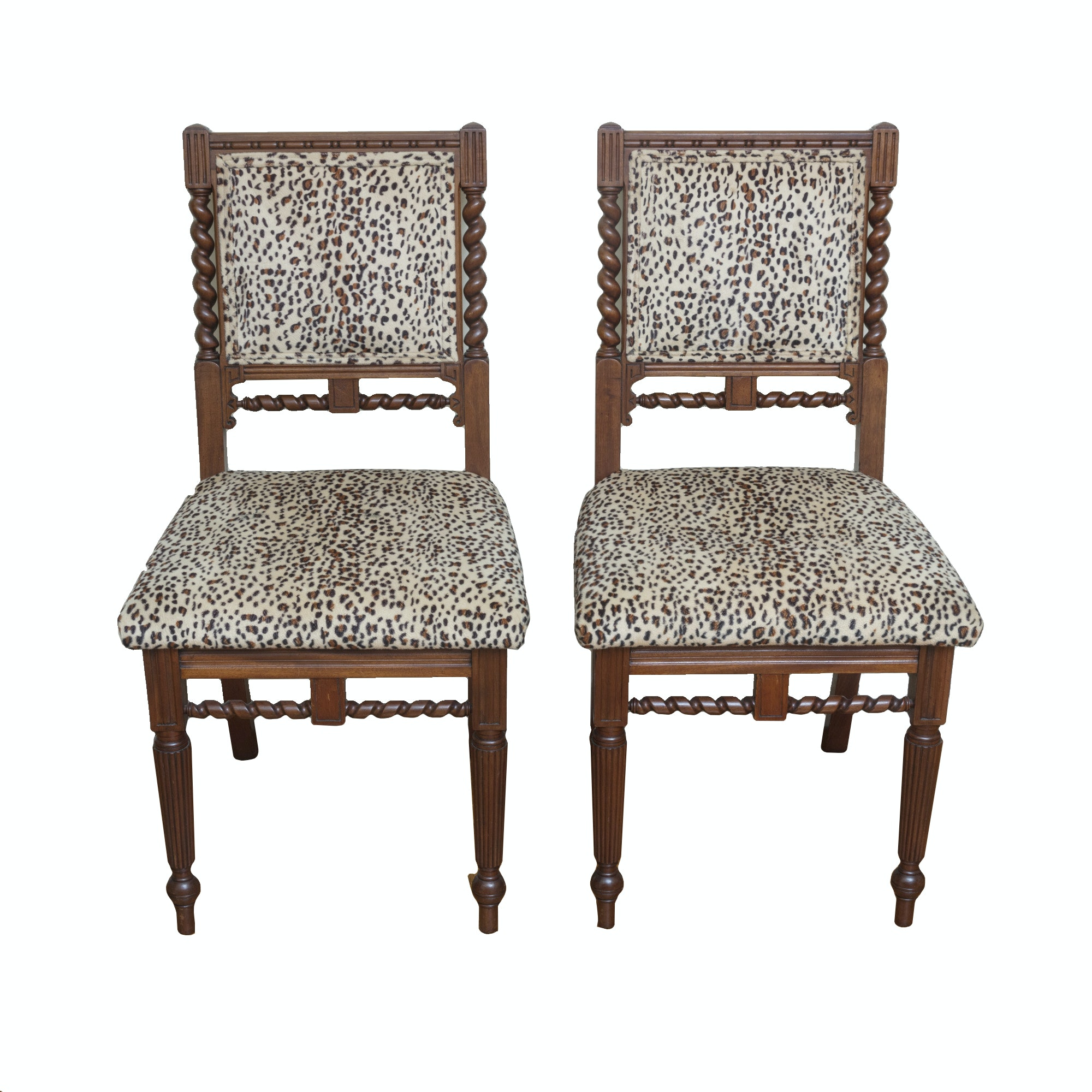 Ordinaire Barley Twist Chairs With Leopard Upholstery ...