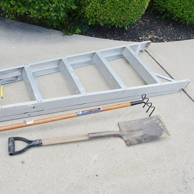 6' Werner Aluminum Ladder and Garden Tools