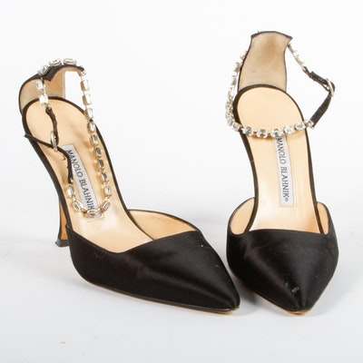 Manolo Blahnik Rhinestone Ankle Strap Heels
