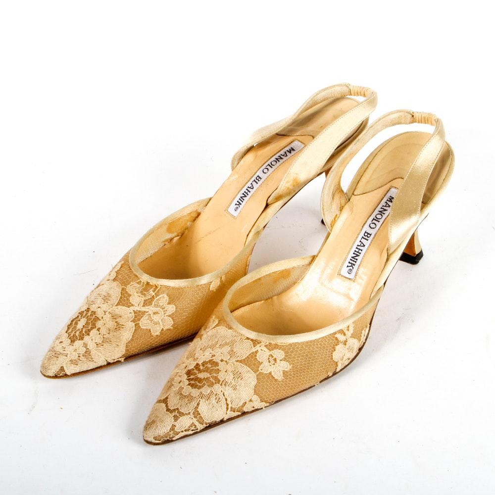 Manolo Blahnik Floral Heels