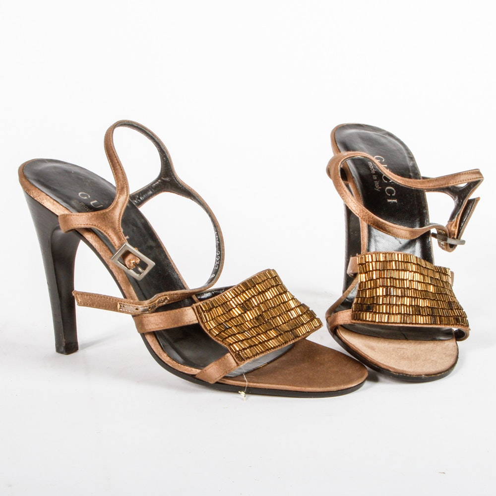 Gucci Beaded Heeled Sandals
