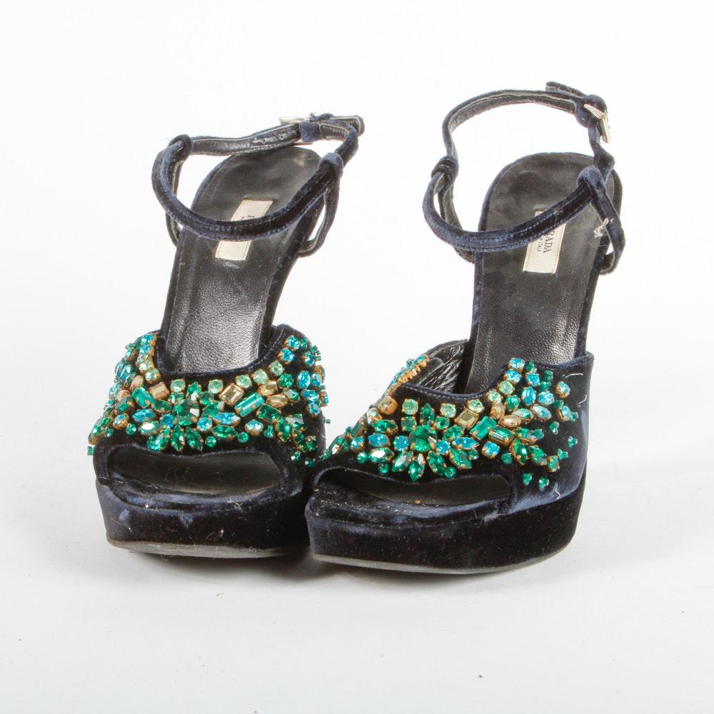 Prada Navy Velvet Platform Heels