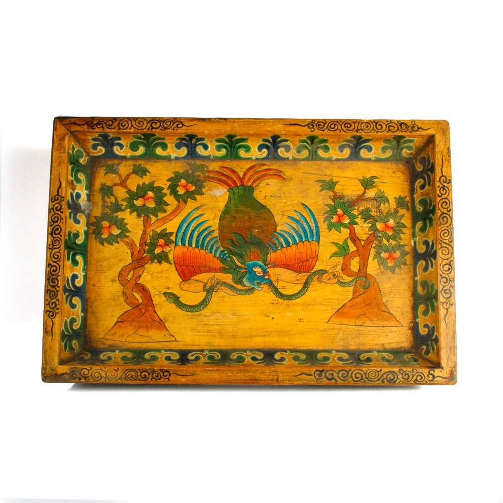 Hand Painted Asian Inspired Wooden Tray
