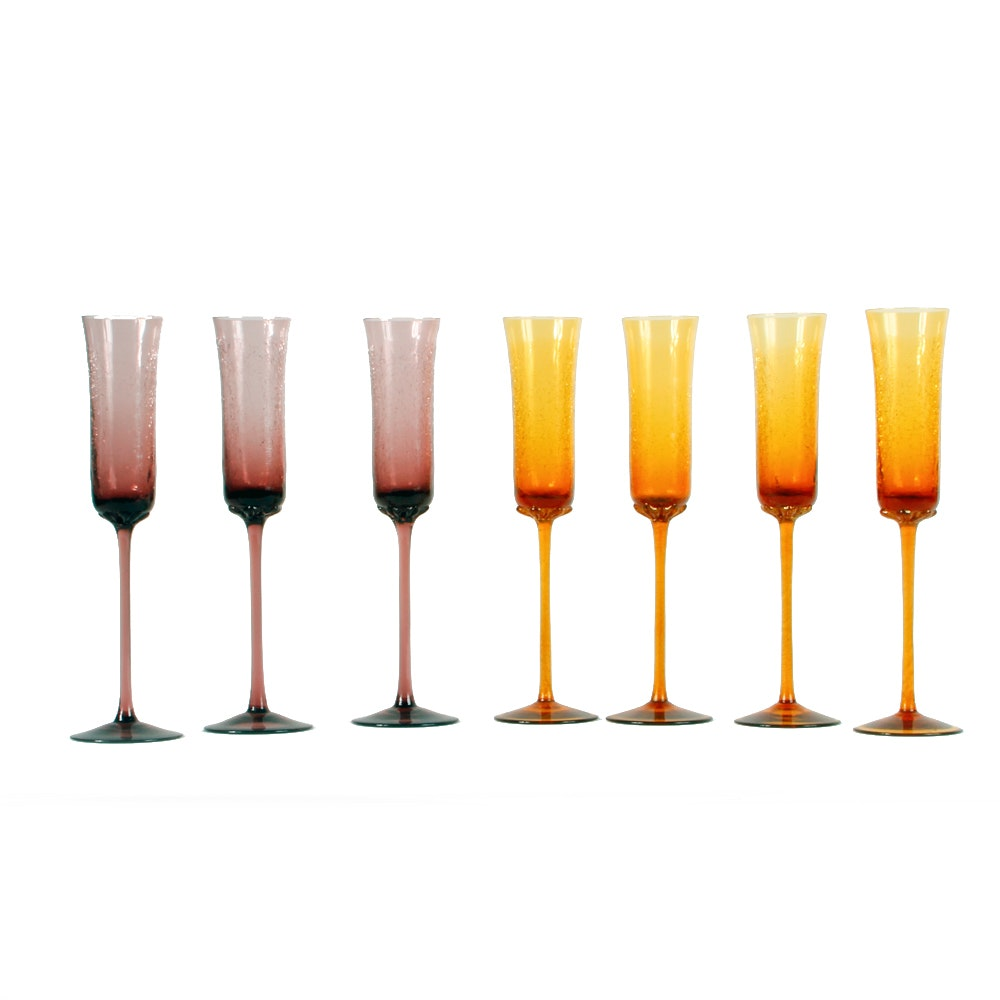 Vintage Purple and Yellow Crackle Glass Champagne Flutes