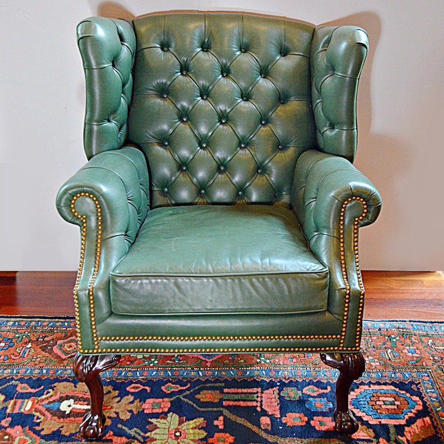 Terrific Chippendale Style Ball And Claw Green Leather Wingback Chair Camellatalisay Diy Chair Ideas Camellatalisaycom