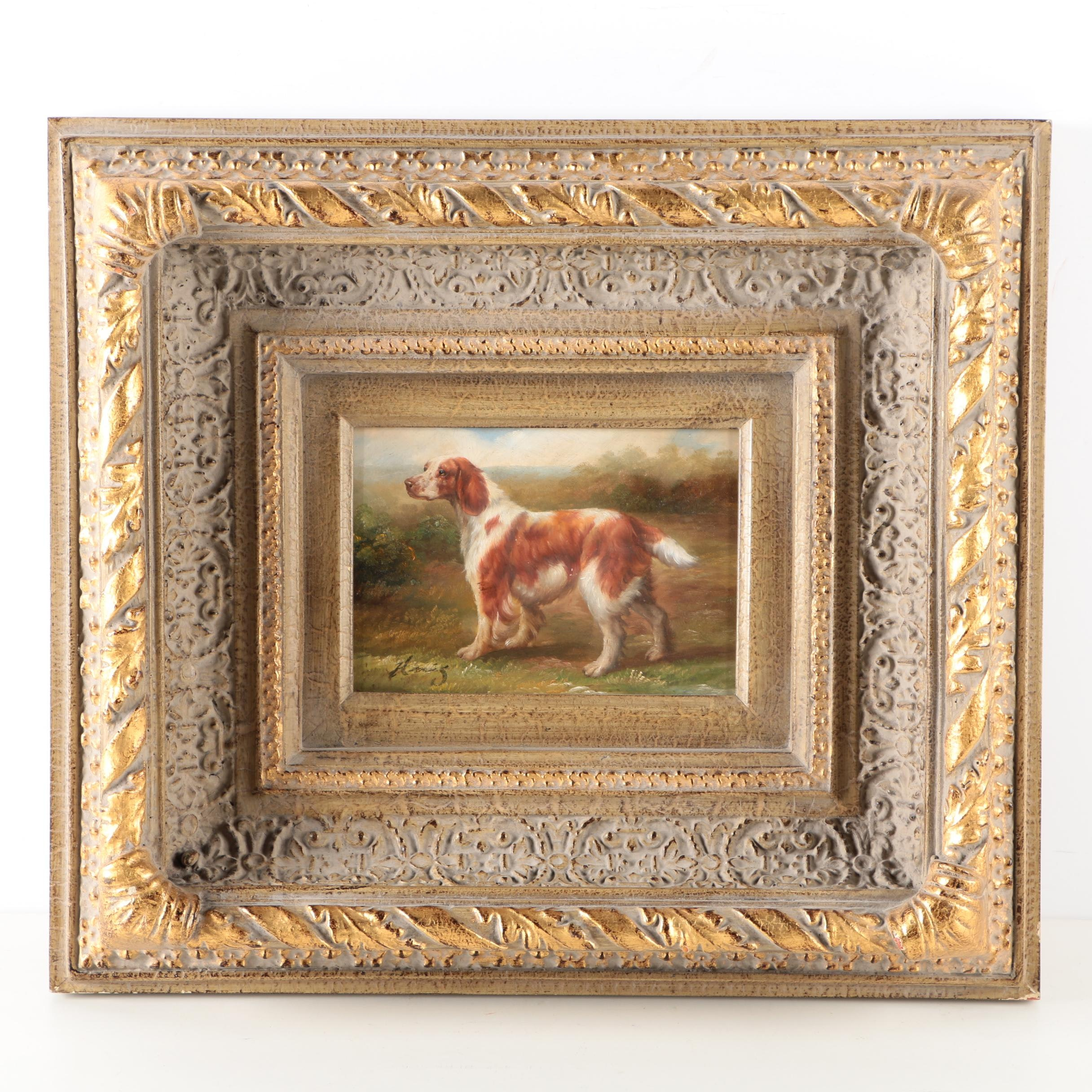 Oil Painting on Panel of an Irish Red and White Setter