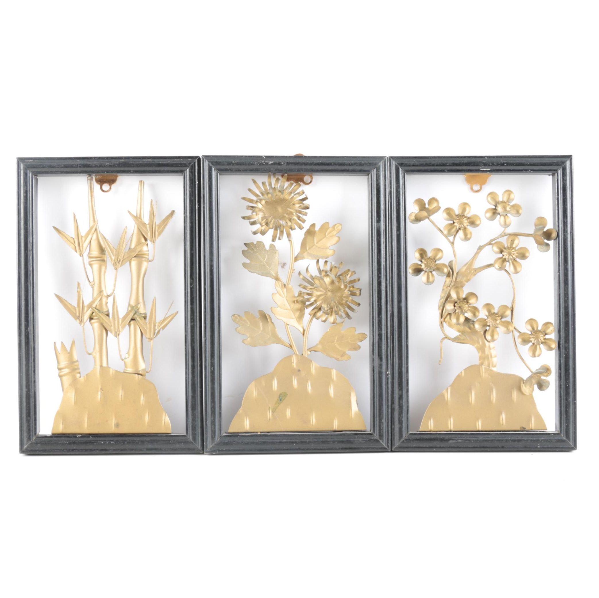 Set of Framed Chinese Cut Metal Art