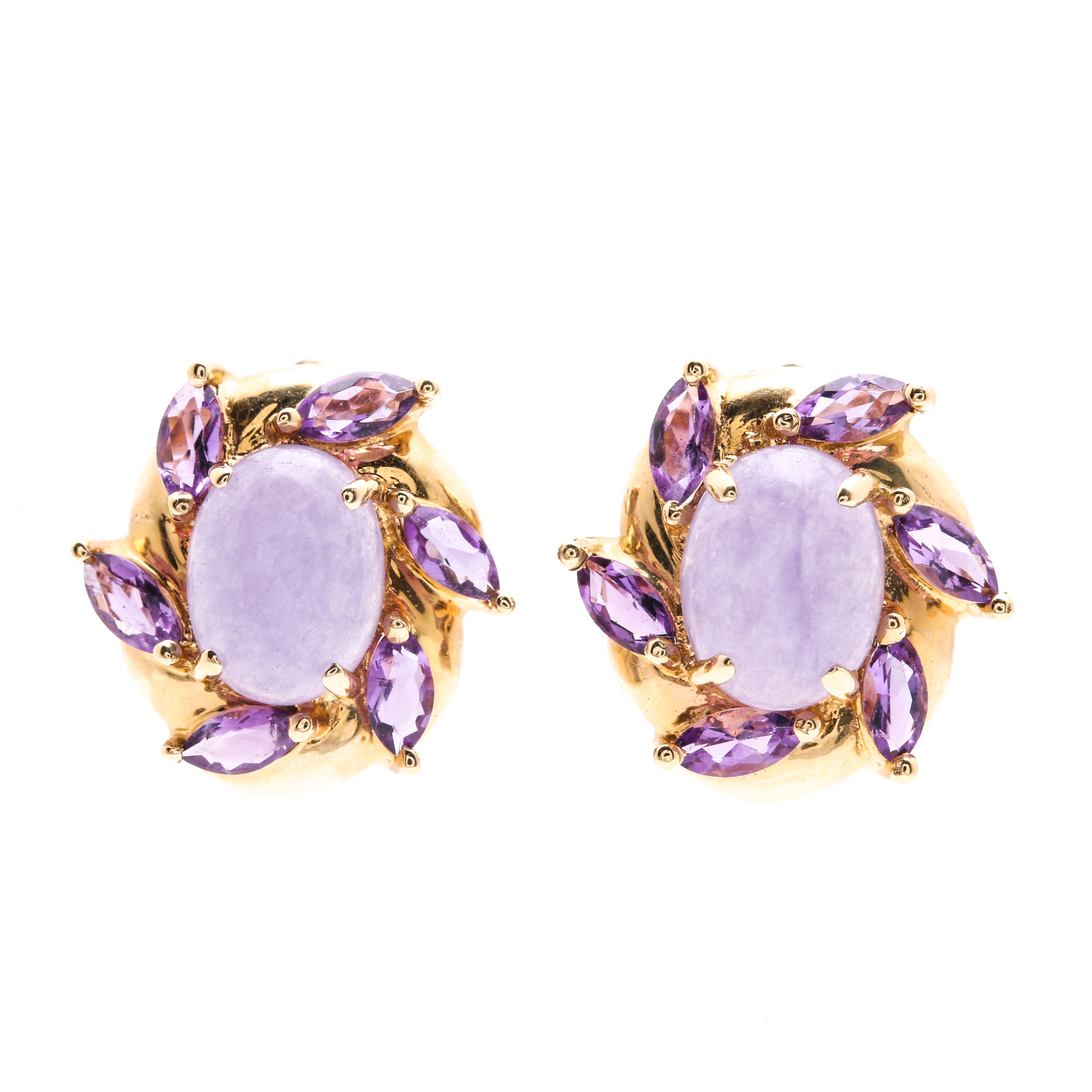 14K Yellow Gold Jadeite and Amethyst Earrings