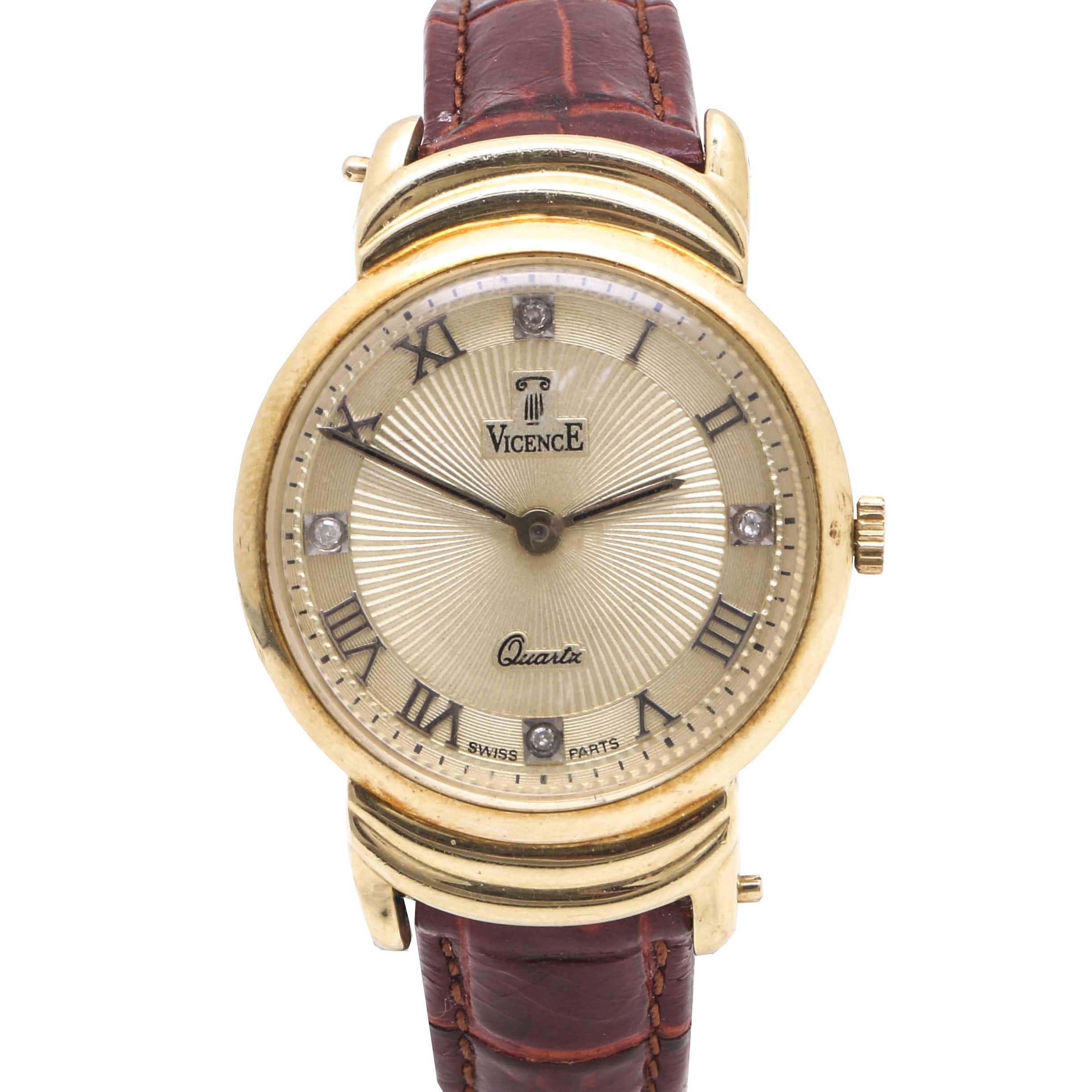 Vicence 14K Yellow Gold Diamond Wristwatch