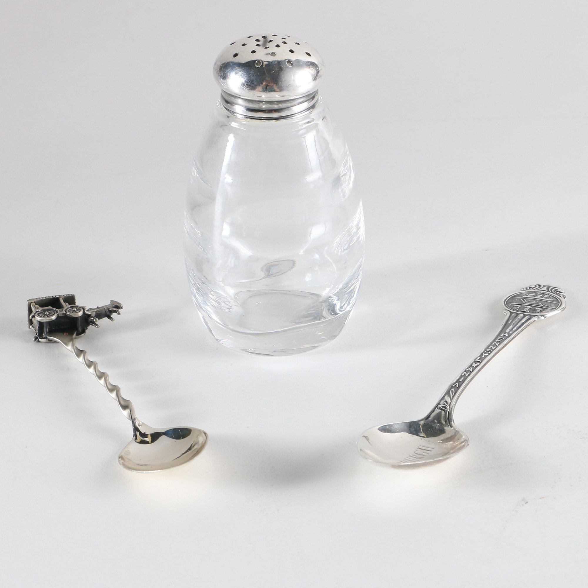 Sterling Silver Souvenir Spoons and Shaker