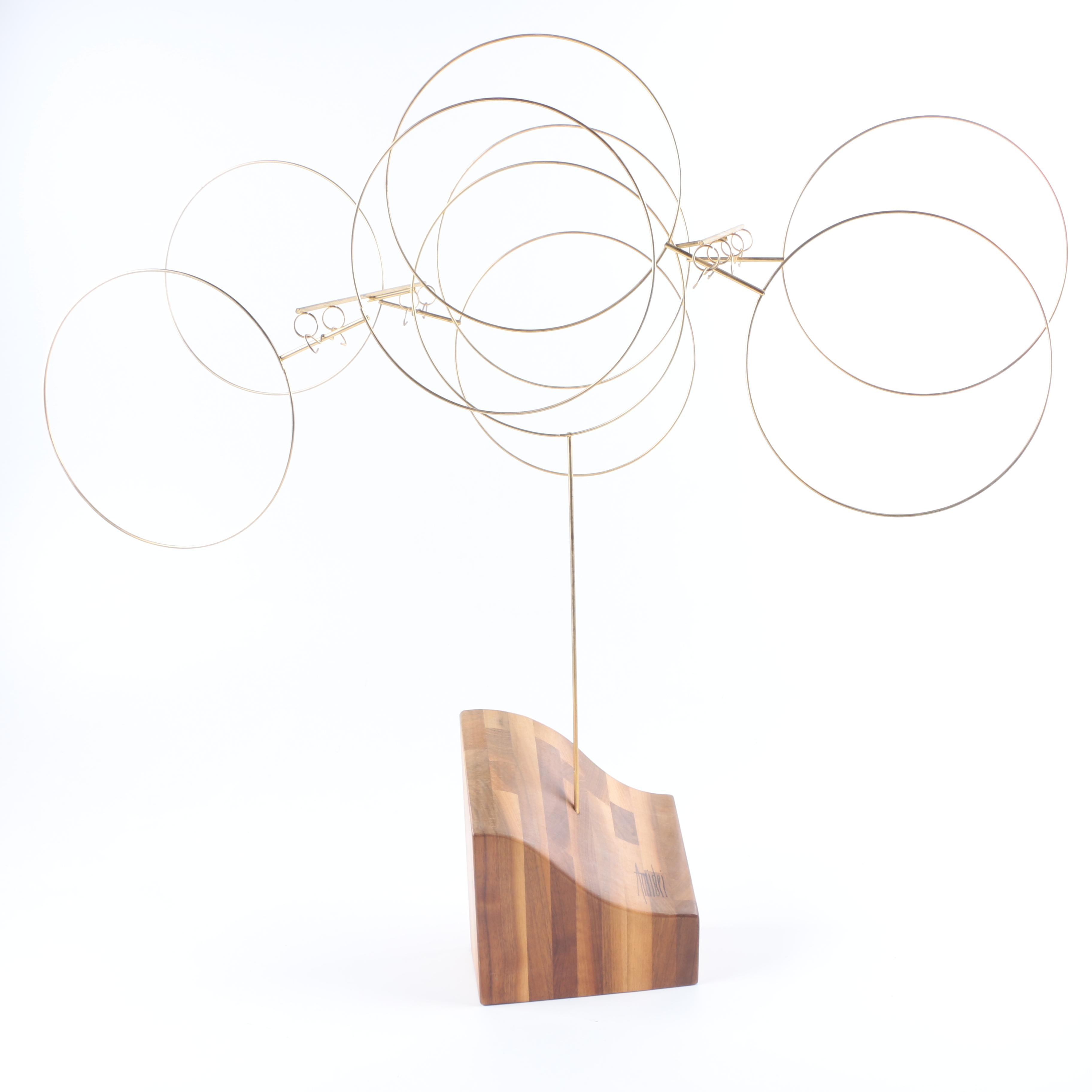 Amidei Kinetic Brass Sculpture With Wood Base
