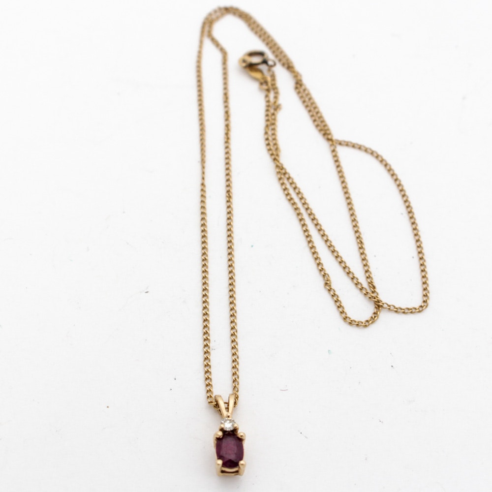 14K Yellow Gold Natural Ruby and Diamond Pendant Necklace