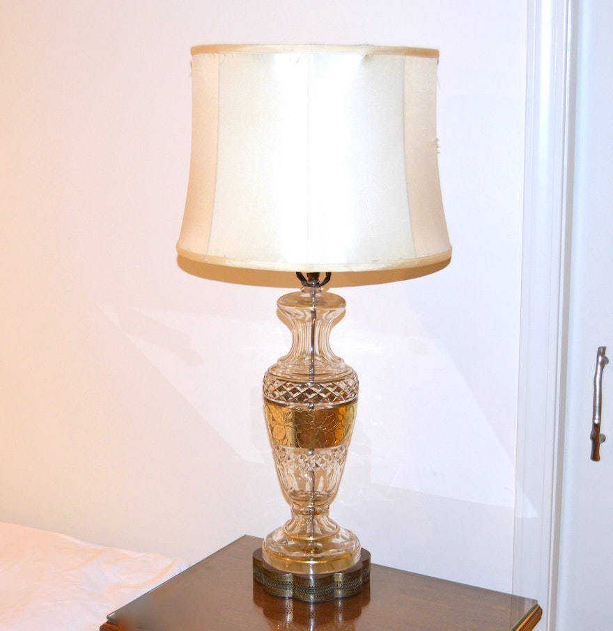 Vintage Glass Table Lamps - Vintage brass cut glass table lamp