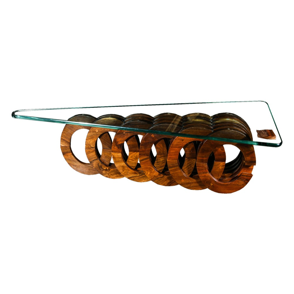 artisan built walnut and glass coffee table by giuseppe pirone ebth