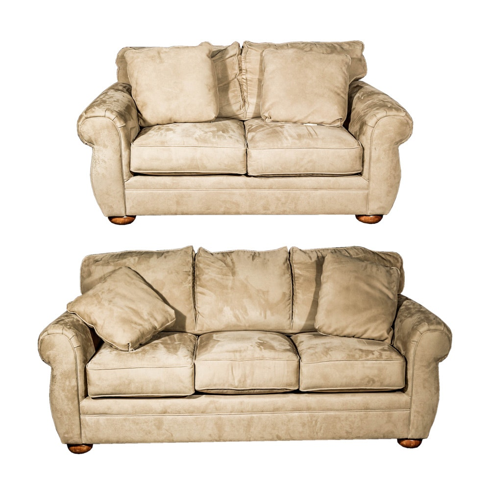 Tan Microfiber Loveseat and Sleeper Sofa by Bauhaus  sc 1 st  Everything But The House : settees and chaises - Sectionals, Sofas & Couches