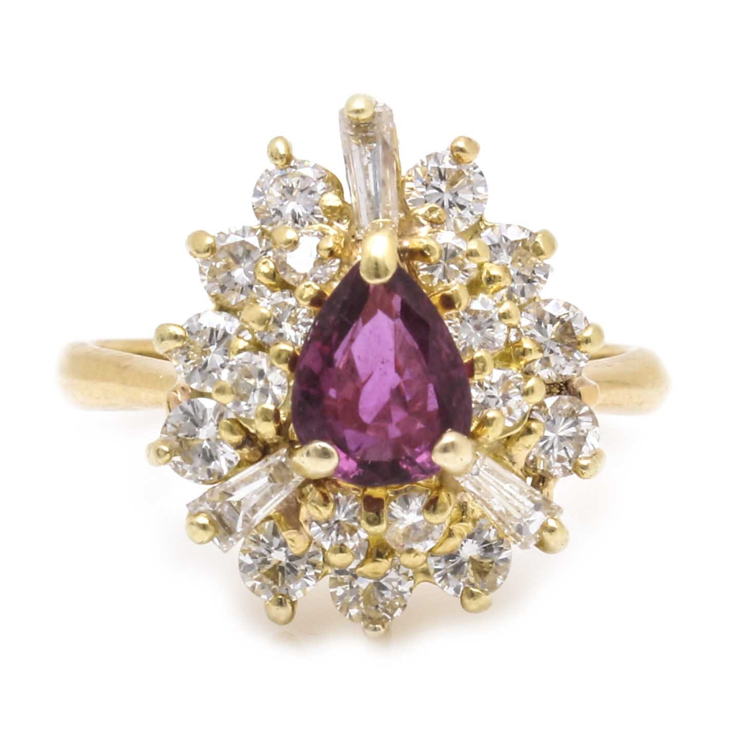 18K Yellow Gold 2.75 CTW Diamond and Ruby Ring