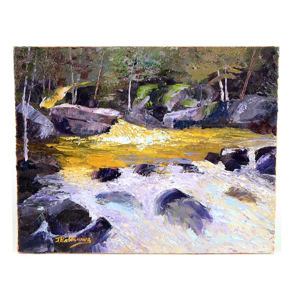 """James Baldoumas Original 2017 Oil on Canvas Board """"Spring Runoff"""""""