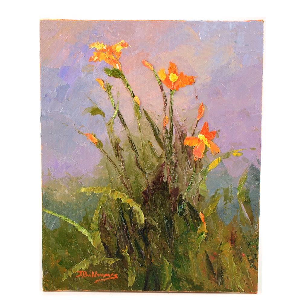 """James Baldoumas Original 2017 Oil on Canvas Board """"Day Lilies"""""""