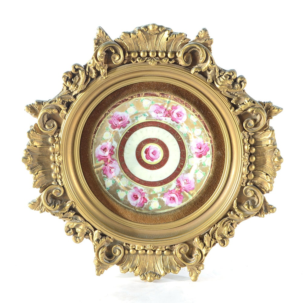 Late Victorian Painted Porcelain Plate in Gilt Frame