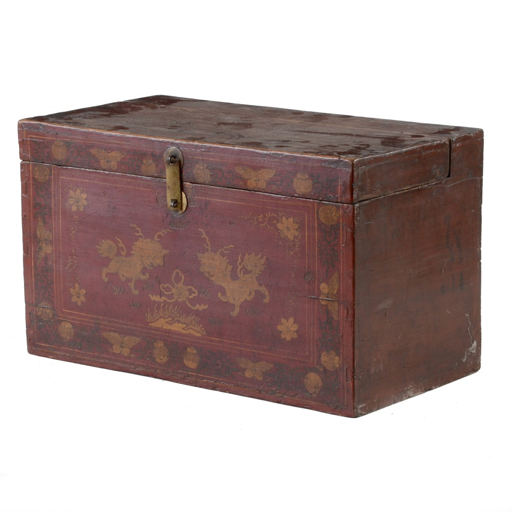 Antique Hand-Painted Chinese Inspired Chest