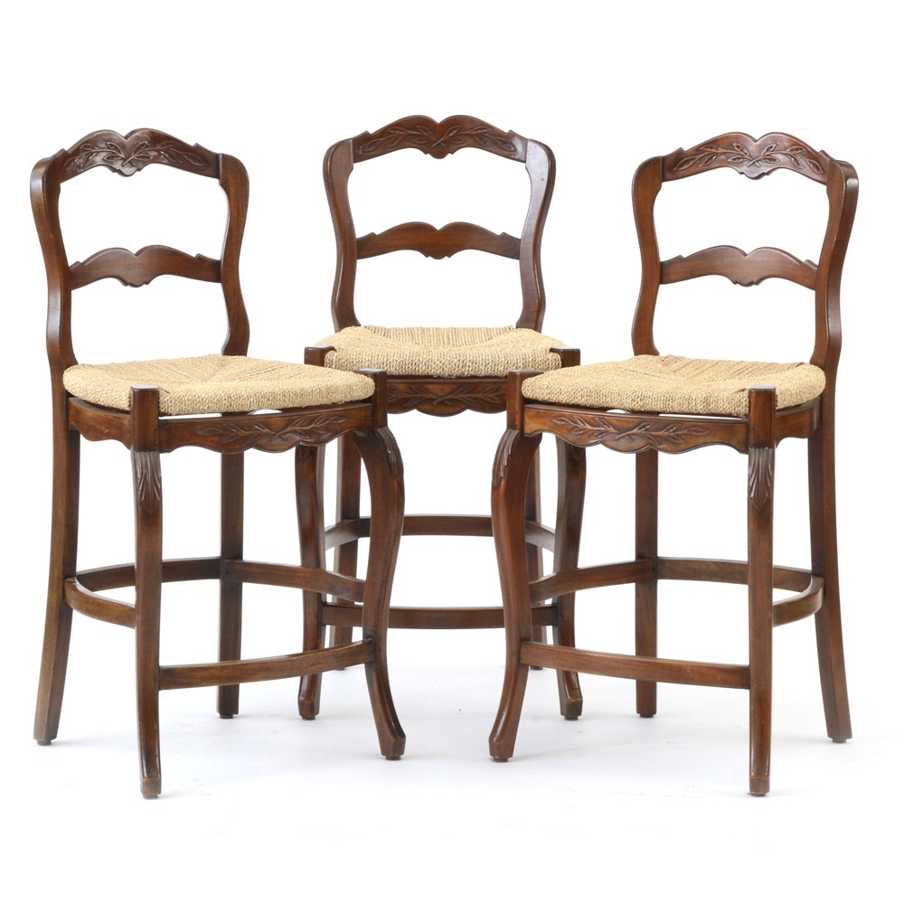 Marie Albert French Country Woven Rush Seat Counter Stools