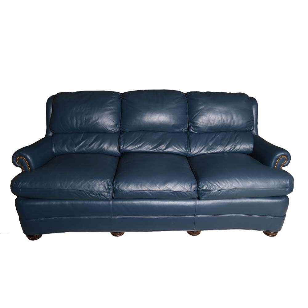 Blue Leather Austin Sofa By Hancock Moore Ebth