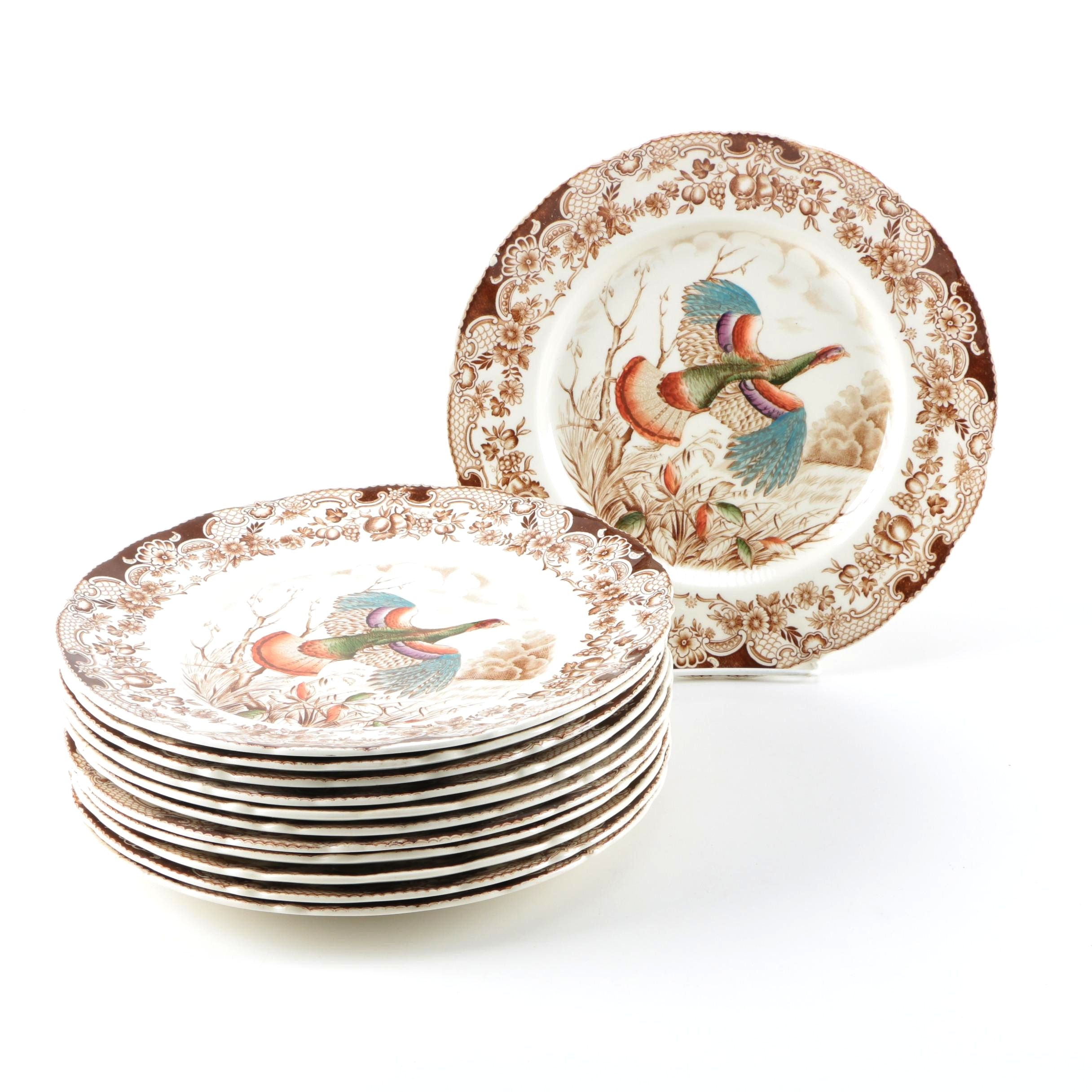 "Johnson Brothers ""Wild Turkey"" Windsor Ware Plates"