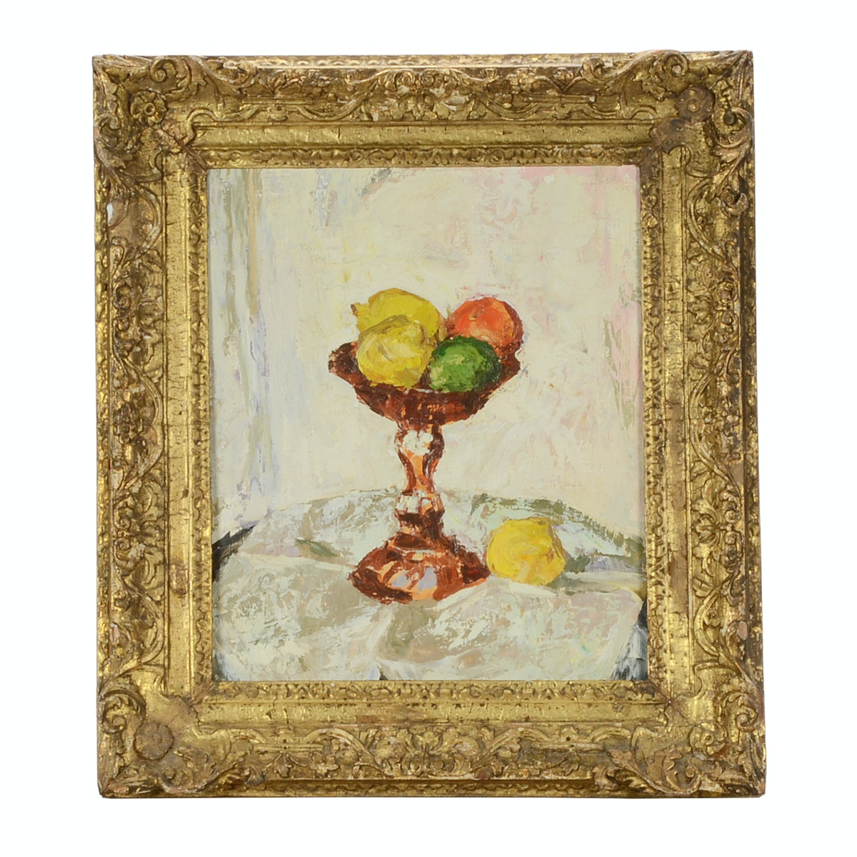 Original Oil Still Life with Fruit on Masonite