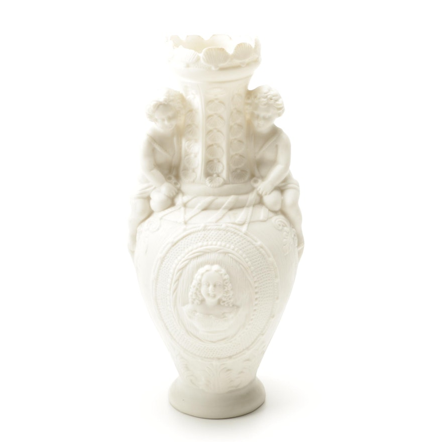 Neoclassical Style Bisque Vase Ebth