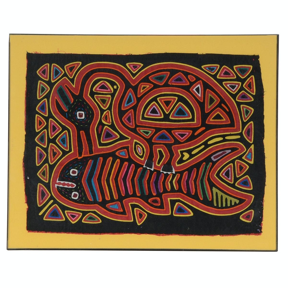 South American Hand-Stitched Folk Art Animal Textile