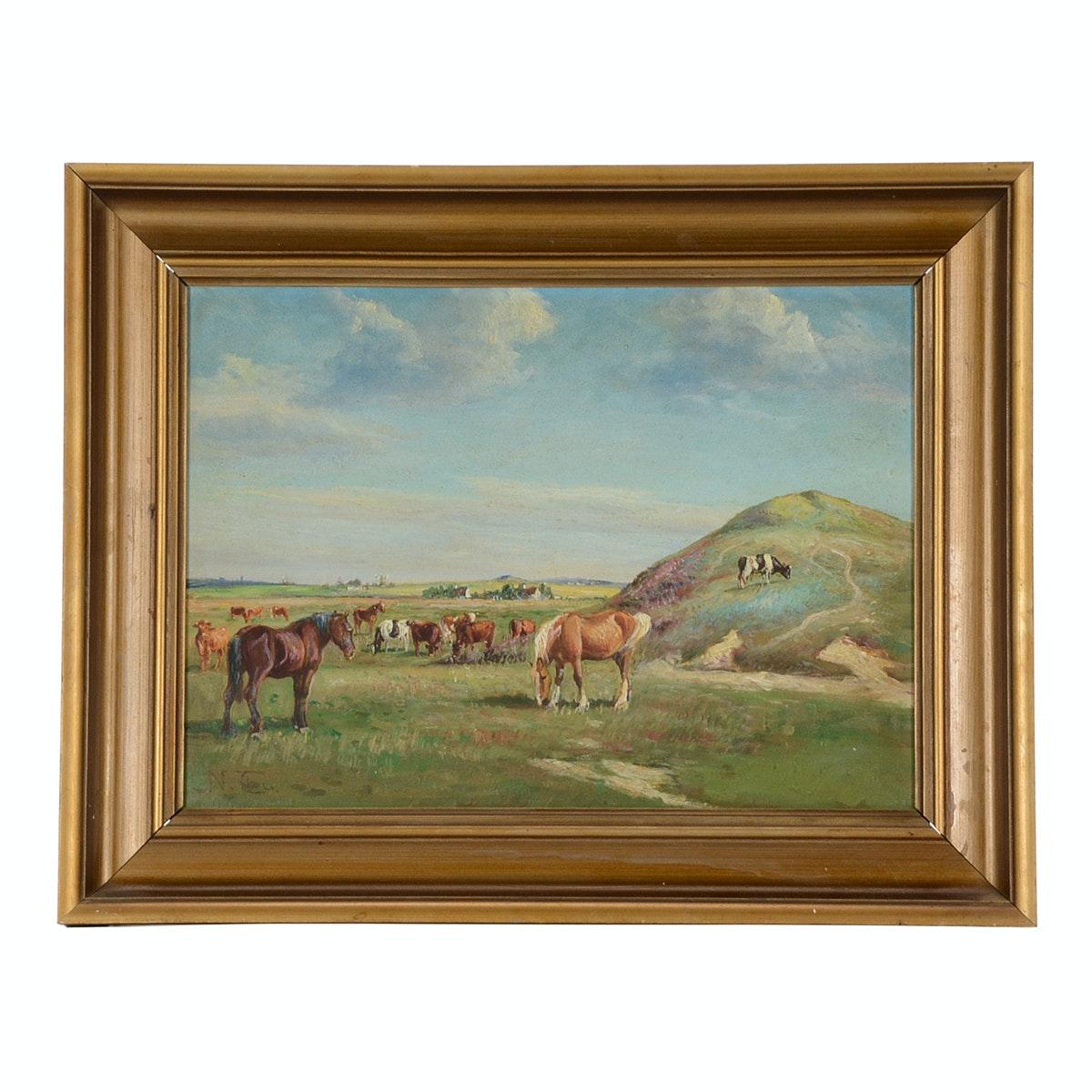 Niels Christiansen Original Pastoral Oil Painting on Canvas