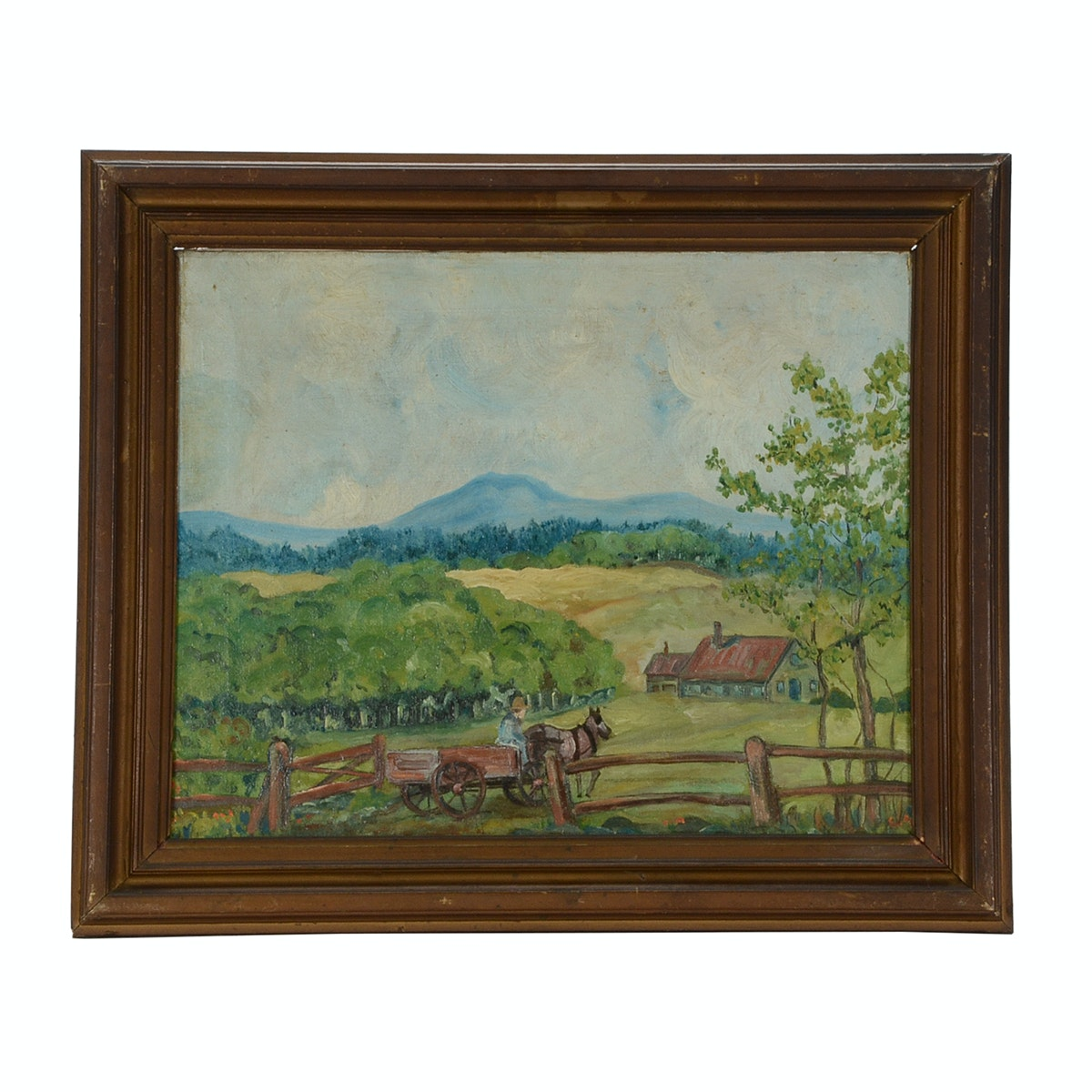 Original Early 20th-Century Post-Impressionist Oil Landscape on Canvas