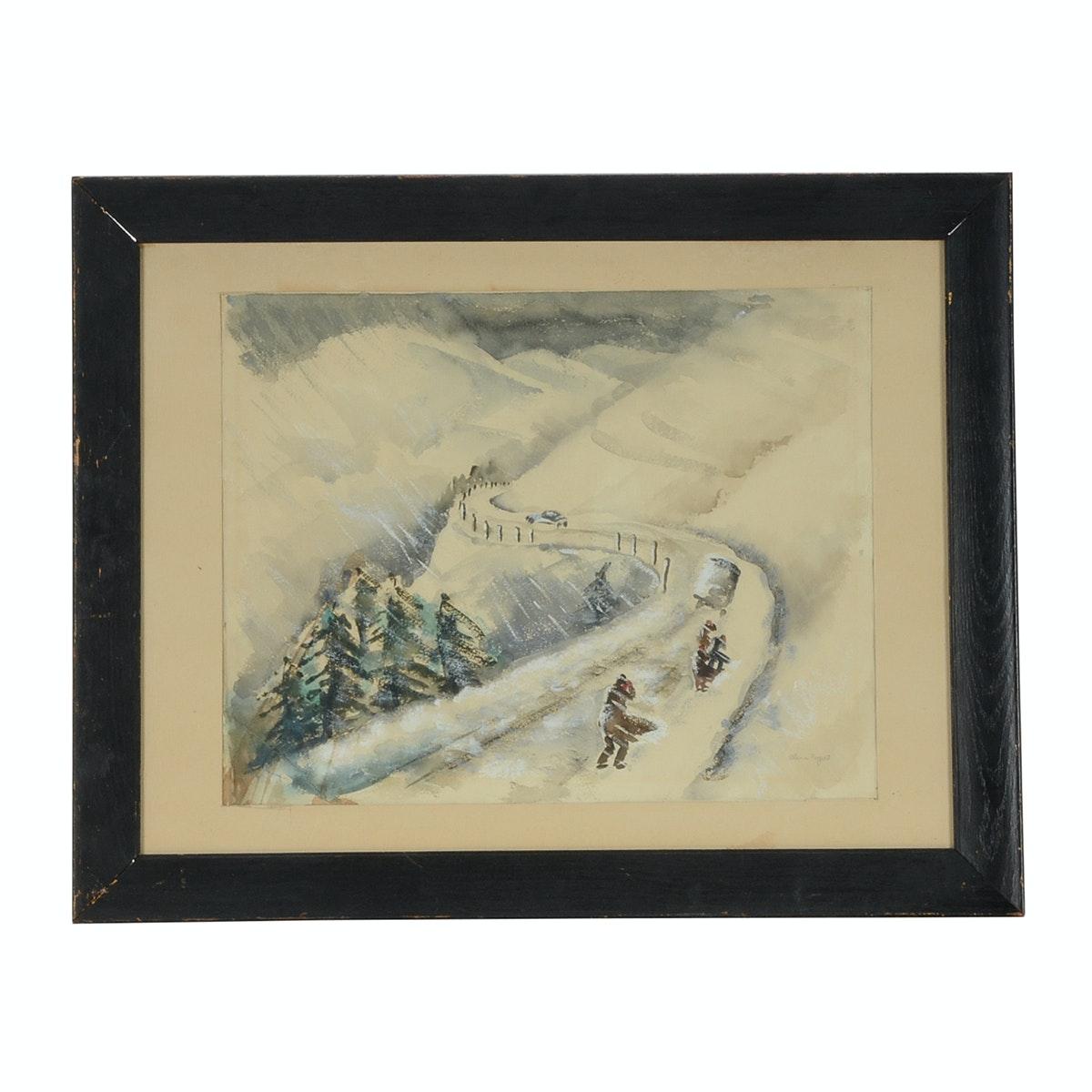 Alene Rogert Original Watercolor Winter Landscape