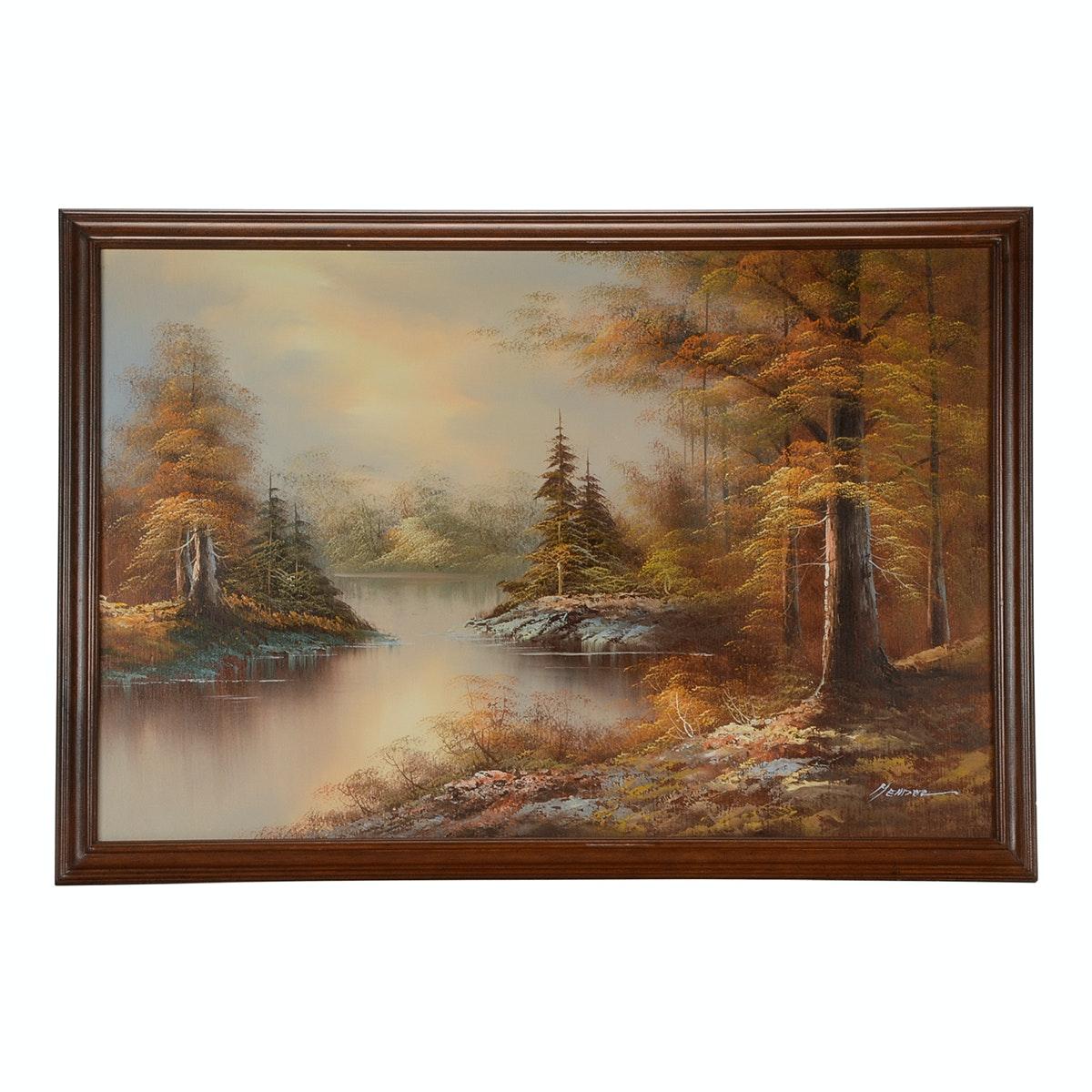 Mendez Signed Original Oil Landscape on Canvas