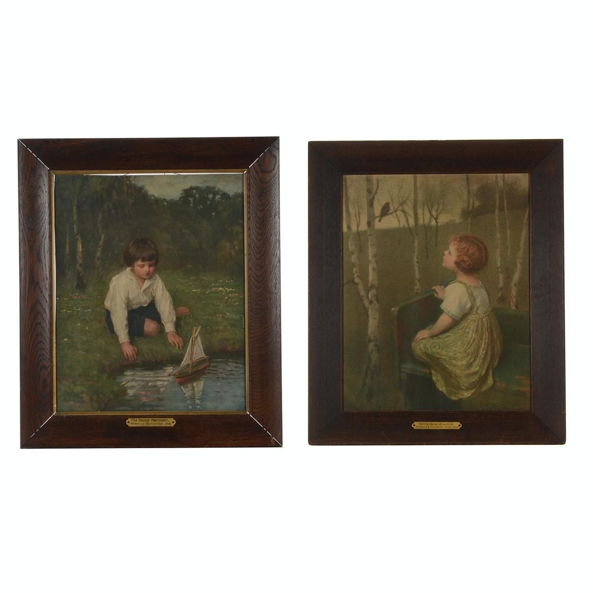 Pair of Vintage Color Photogravures of Children